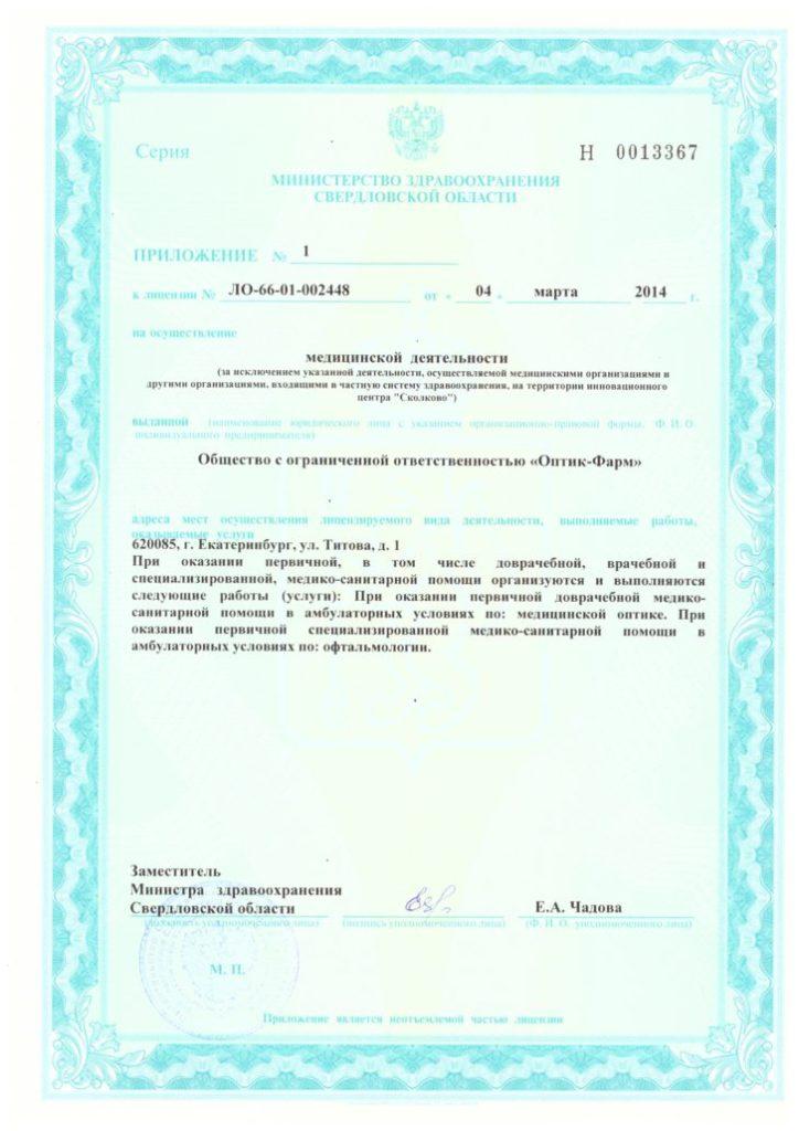 Лицензия ЛО-66-01-002448 Приложение 1