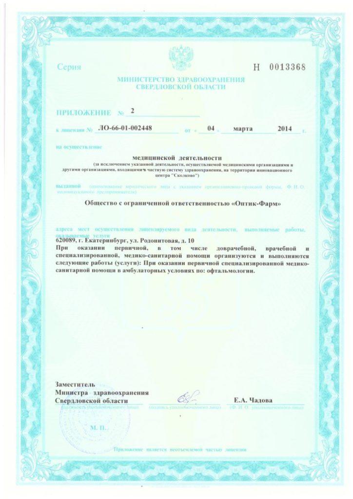 Лицензия ЛО-66-01-002448 Приложение 2
