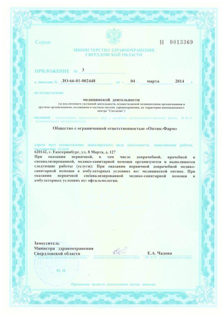 Лицензия ЛО-66-01-002448 Приложение 3