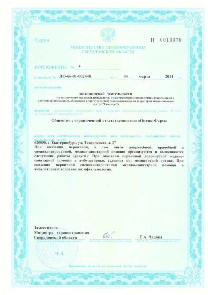 Лицензия ЛО-66-01-002448 Приложение 4